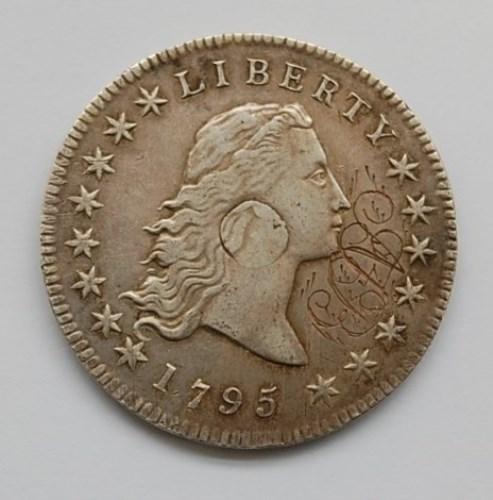Lot 44-USA, 1795 flowing hair dollar, silver plug...