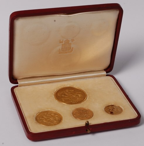 Lot 160-Great Britain, 1937 gold 4-coin specimen set,...