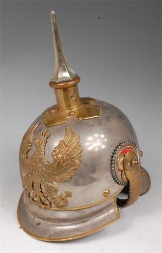 Lot 290-A Prussian Cuirassier trooper's steel helmet,...