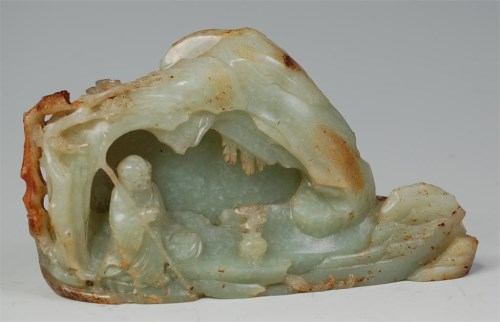 Lot 1106-A Chinese celadon jade boulder carving, worked in ...