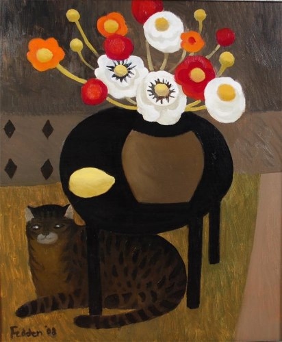 Lot 1183-Mary Fedden (1915-2012) - Still life with cat,...