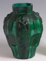 Lot 10 - A French Art Deco simulated malachite glass...