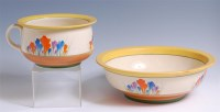 Lot 14 - A 1930s Clarice Cliff pottery matching chamber...
