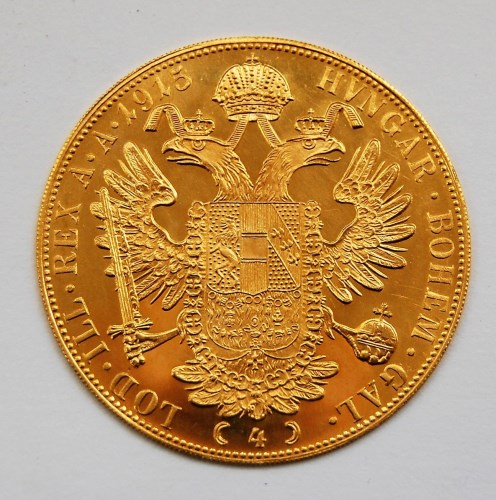 Lot 2111-Austria, gold four ducat re-strike, dated 1915,...