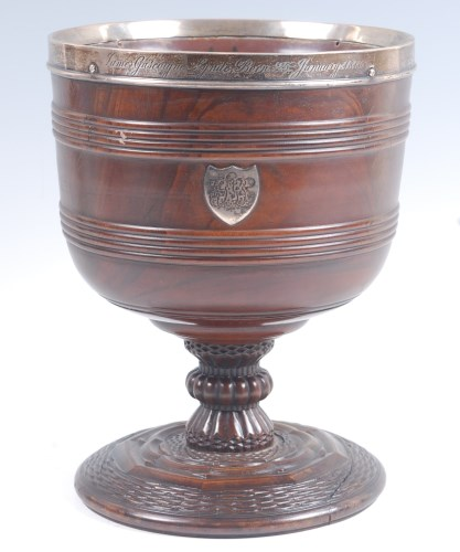 Lot 133-An 18th century lignum vitae wassail bowl, of...