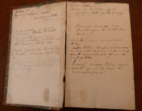 Lot 2013-Mss notebook, 12 x 19cm approx, half calf, 334pp, ...