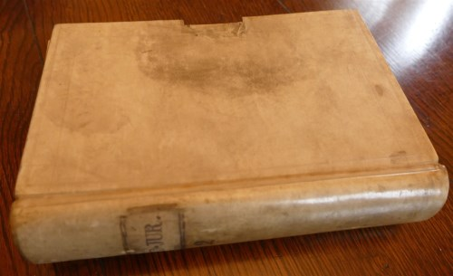 Lot 2015-Mss vellum bound indexed notebook, 13.5 x 20.5cm...