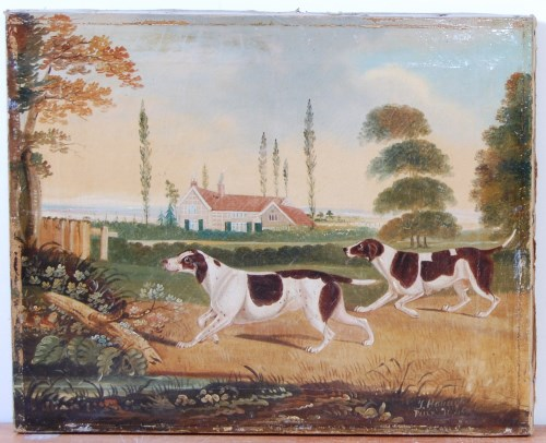 Lot 1361-John Robert Hobart (1788-1863) - Dogs before a...
