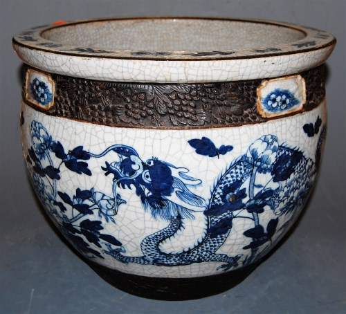 Lot 159-A large Chinese crackle glazed blue & white...