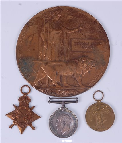 Lot 2-A WW I Casualty group to include bronze memorial...