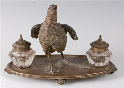 Lot 20-A late 19th century Continental desk stand,...