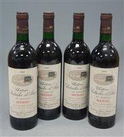 Lot 1037-Château Patache d'Aux 1989 Medoc, four bottles
