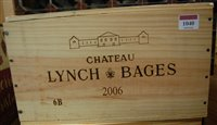 Lot 1040-Château Lynch-Bages 2006 Pauillac, six bottles...