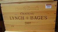 Lot 1043-Château Lynch-Bages 2007 Pauillac , six bottles...