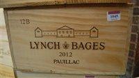 Lot 1045-Château Lynch-Bages 2012 Pauillac , twelve...