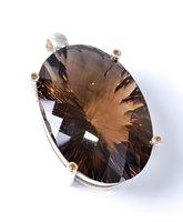 Lot 2503-A smokey quartz and citrine pendant, the large...