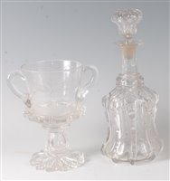 Lot 7-A George V glass commemorative pedestal trophy...