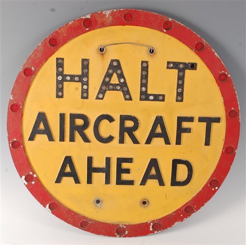 Lot 14-A 20th century painted metal sign HALT AIRCRAFT...