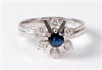 Lot 2514-A 14ct sapphire and diamond snowflake cluster...