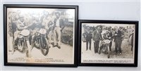 Lot 28-Two framed and glazed TT and motorcycle original...