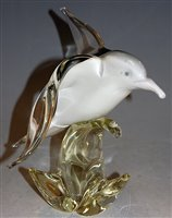 Lot 3-A Murano style glass model of a bird in flight, h....