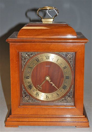 Lot 9-A modern Smith's mahogany cased mantel clock,...
