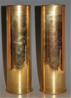 Lot 31-A pair of trench art brass shell cases, having...