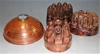 Lot 35-Three Victorian copper castle-top jelly moulds;...
