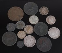 Lot 2021-Mixed lot of silver and copper coins and tokens,...