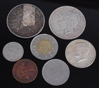 Lot 2022-A collection of 8 silver and other world coins ,...