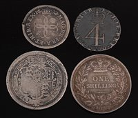Lot 2007-Great Britain, four Charles II and later silver...