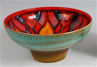 Lot 57-Poole Pottery - a footed 'Delphis' bowl, the...