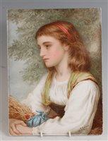 Lot 1075 - A 19th century painted porcelain plaque,...
