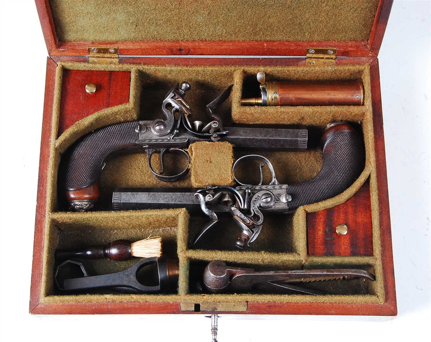 228 - A cased pair of 19th century travelling pistols