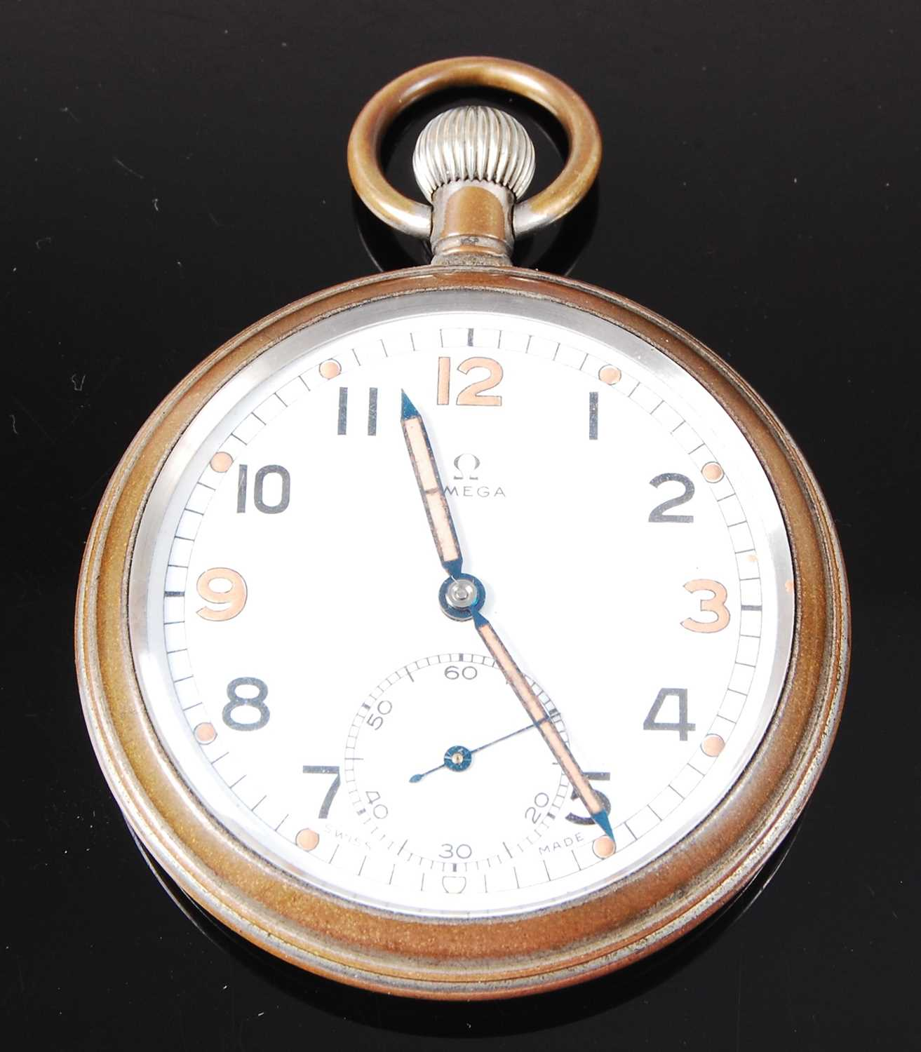 Lot 32-An Omega military issue nickel cased open face pocket watch