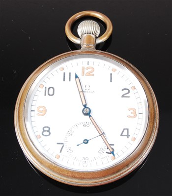 Lot 32 - An Omega military issue nickel cased open face pocket watch