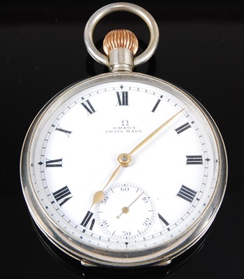 Lot 15-An Omega military nickel cased open face pocket watch