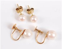 Lot 2510-Two pairs of cultured pearl earrings, the 6mm...