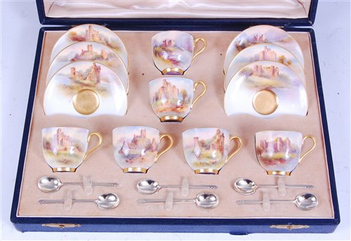 Lot 1027-*A cased set of six Royal Worcester coffee...