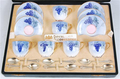 Lot 1031-*A cased set of six Royal Worcester coffee...