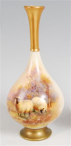 Lot 1036-*A Royal Worcester porcelain vase, having trumpet ...