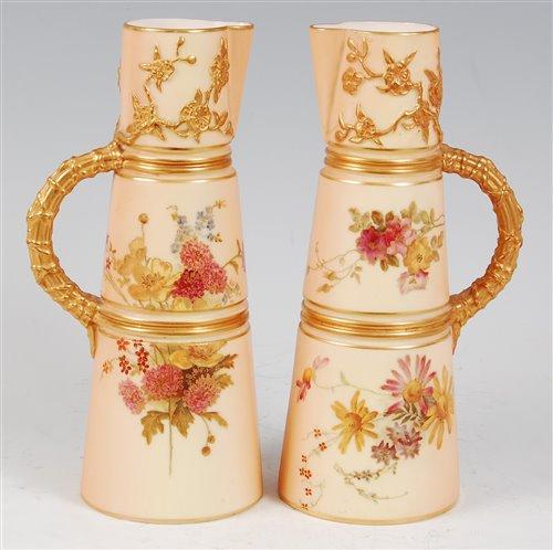 Lot 1049-*A near-pair of Royal Worcester porcelain blush...