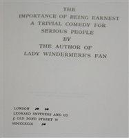 Lot 1006-Wilde, Oscar. The Importance of Being Earnest....