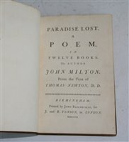 Lot 1011-Milton, John. Paradise Lost together with...