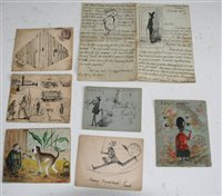 Lot 1023-Ephemera. A small collection of humorously hand...