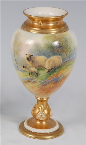 Lot 1044-*A Royal Worcester porcelain ovoid pedestal...