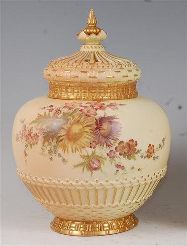 Lot 1050-*A large Royal Worcester porcelain blush ivory...