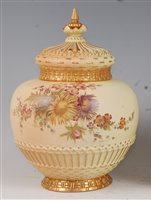 Lot 1050-*A large Royal Worcester porcelain blush ivory...