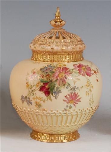 Lot 1051 - *A large Royal Worcester porcelain blush ivory...