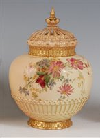 Lot 1051-*A large Royal Worcester porcelain blush ivory...